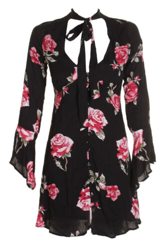 American Rag Juniors Black Bell-Sleeve Floral Neck-Tie Button Front A-Line Dress