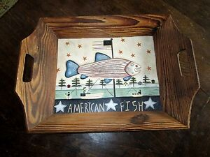 """Carol Endres Pure Art Primitive Painted Wooden Tray American Fish 17"""" X 12.5"""""""