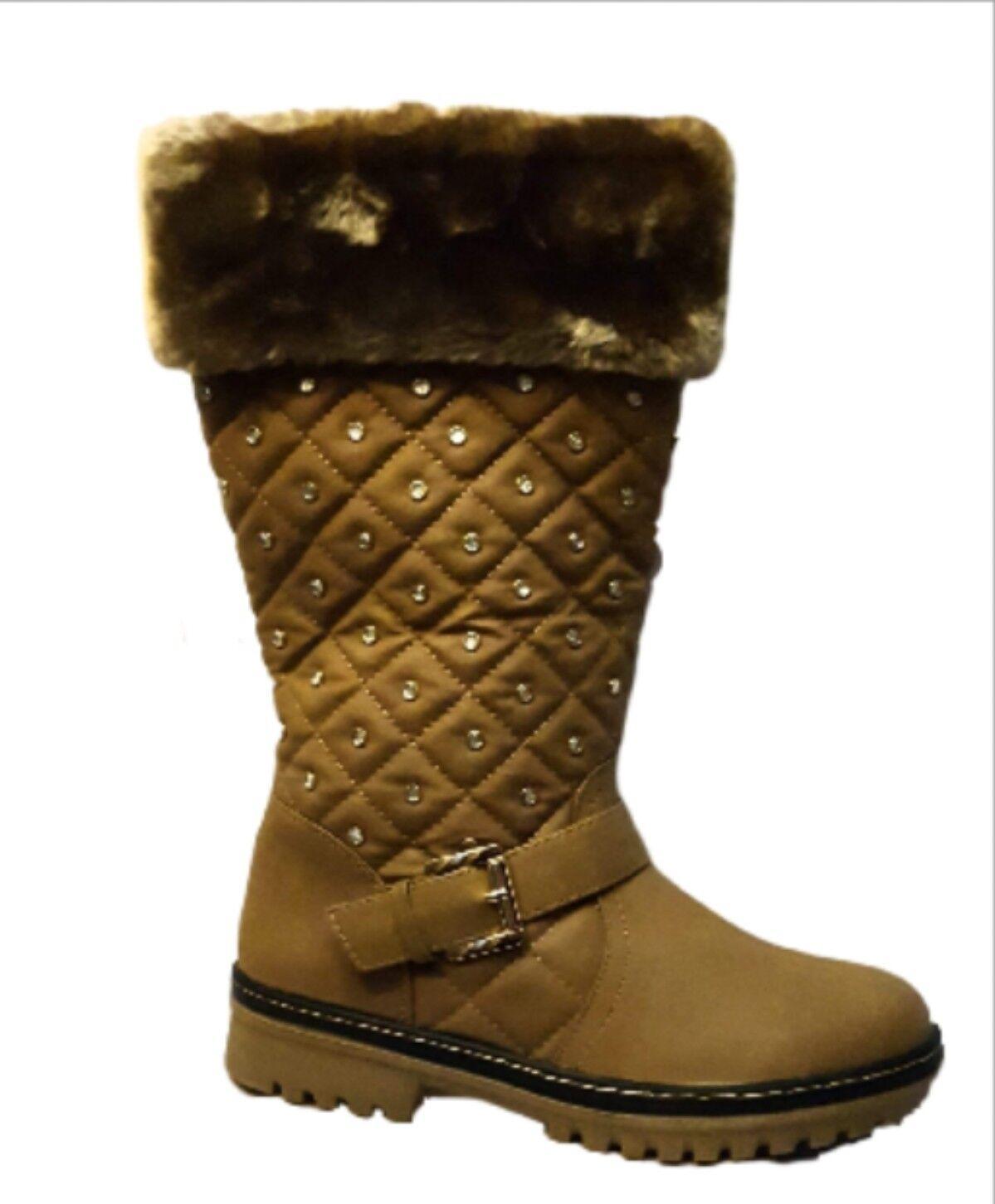 Winter Mid Calf Diamante Brown Camel Tan Fur Boots Sizes 4,6,
