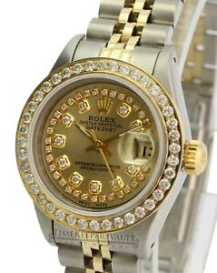 Rolex-Lady-Datejust-69173-26mm-White-MOP-Diamond-Dial-Diamond-Bezel-QUICKSET