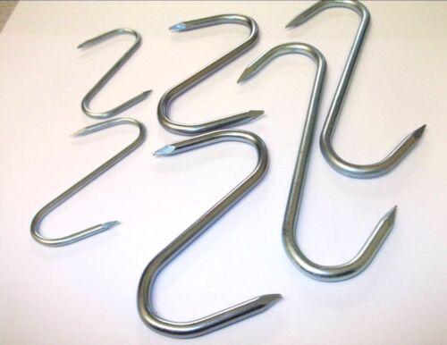Butchers 75mm 150mm.. Slim pointed Kitchen Steel Metal S hooks 100mm
