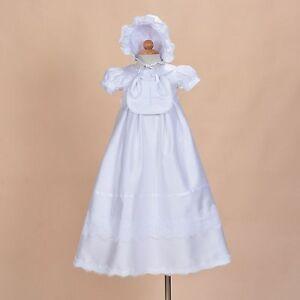 bebe-filles-blanc-satin-BAPTEME-ROBE-AVEC-BAVOIR-et-bonnet-0-3-6-9-12-mois