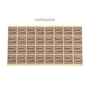 lot-96-etiquettes-stickers-fait-main-hand-made-avec-amour-kraft-NEUF