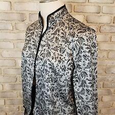 Women's BFA Classics Blazer Jacket Top Silver Gray Black Floral Open Front SzM