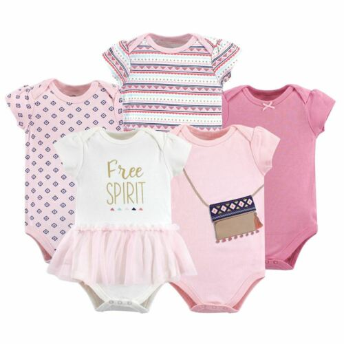 5 Pack Free Spirit Little Treasure Girl Cotton Bodysuits