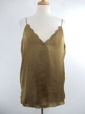 Free People Intimately Fatigue Olive Green Satin Style Spaghetti Strap Top Sz. S