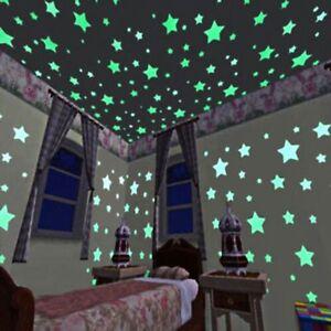 100-PCS-Decoracion-Hogar-Estrellas-Pegatinas-De-Pared-Luminoso-Fluorescente