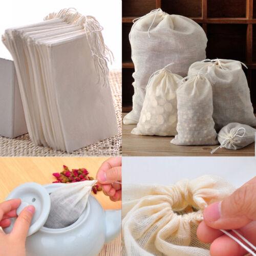 50//100 Pack Mini natural Muselina De Algodón Con Cordón Bolsas Hierbas de Té de jabón 3x4 4x6