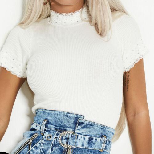 By Alina Damentop Feinstrick T-Shirt Pullover Longshirt Damenshirt Spitze XS-M