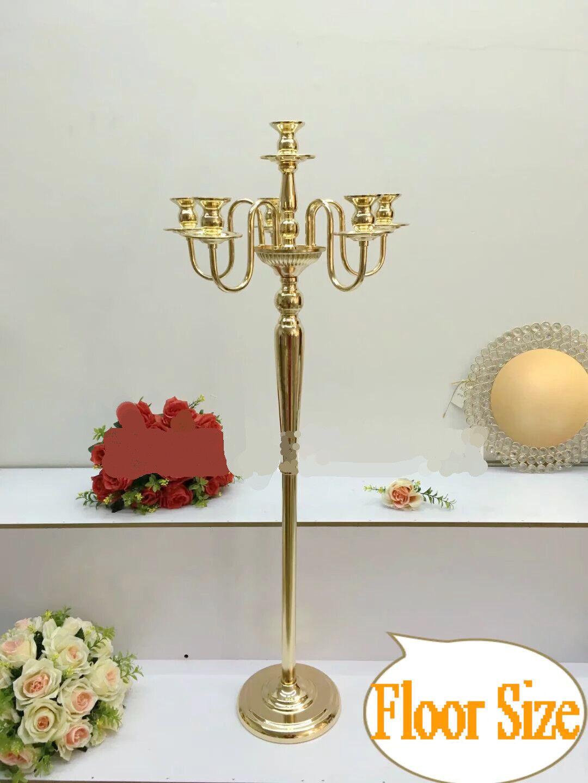 6 Arms 34 inches High Floor Größe Gold Candelabra Wedding Centerpieces