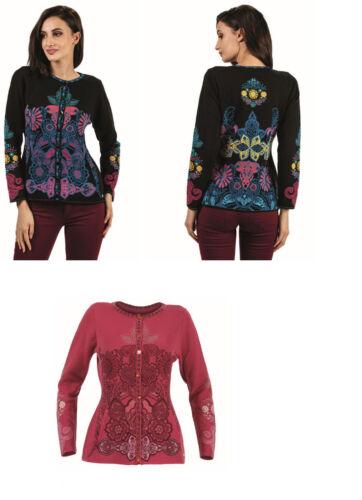 COMPA Knitwear Giacca MOTIVO FLOREALE FLORAL CHERRY NERO BLC-IV-ko 18044