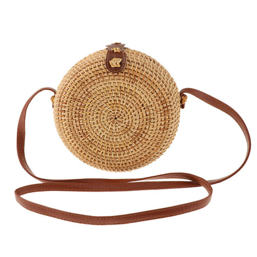 Women Boho Summer Beach Bag Handwoven Rattan Bamboo Straw Satchel Handbag