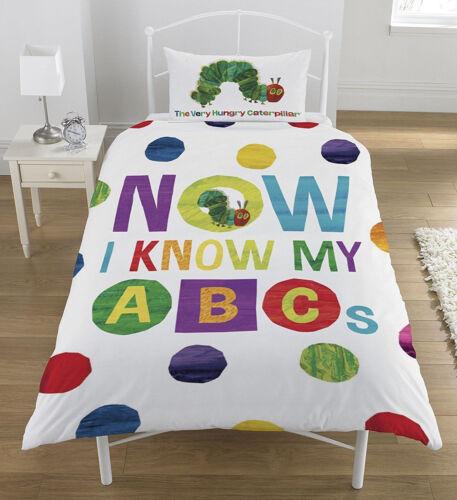 Single Bed Hungry Caterpillar ABC Duvet Cover Set Alphabet Letters Spots Multi