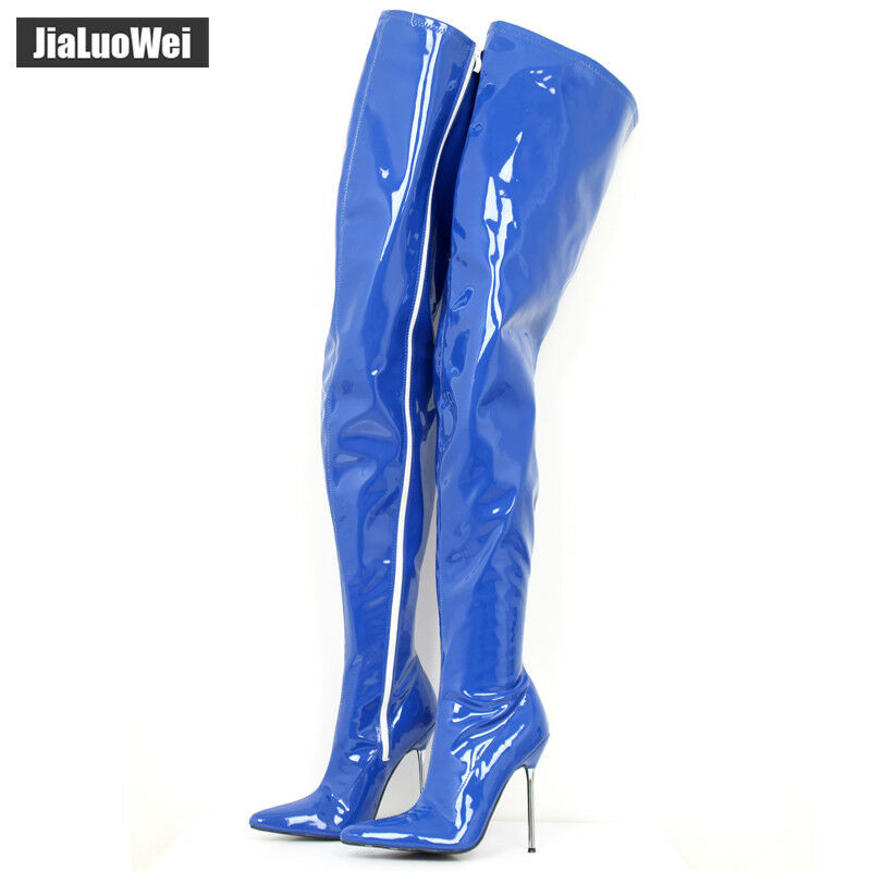 12CM High Heel Stiletto Ziper Sexy Pointed-Toe Thigh Hi Boots Shaft Customized