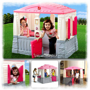 Kids playhouse cottage plastic pink children indoor for Pvc playhouse kit