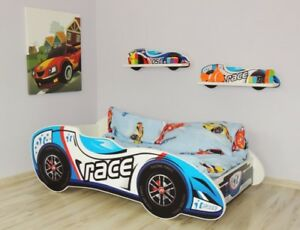 Racing-F1-Car-Bed-Children-Boys-Girls-Bed-with-MATTRESS-140x70cm-FREE-GIFT