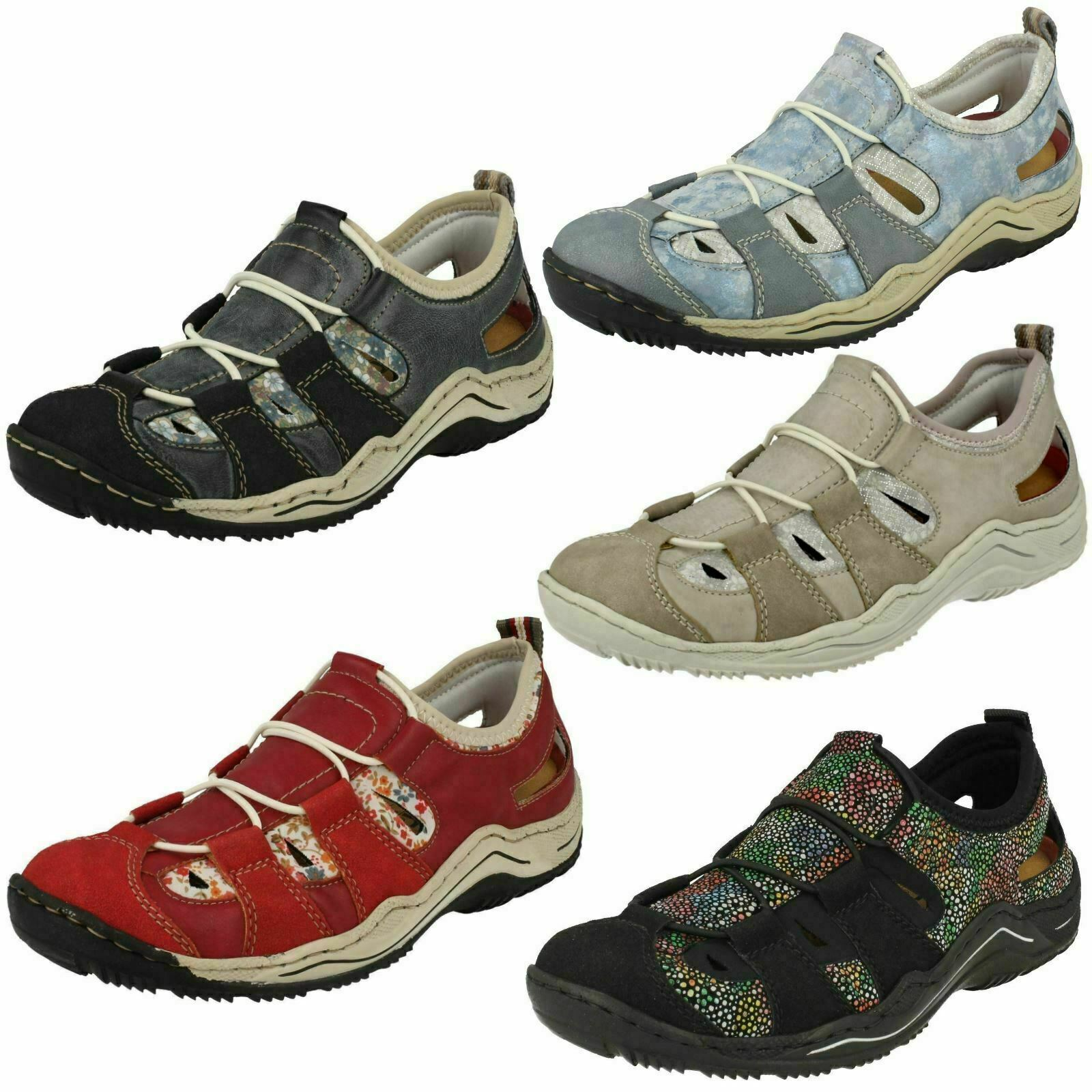 L0561 LADIES RIEKER SPORTS SLIP ON CASUAL ELASTICATED FLAT TRAINERS SHOES SIZE
