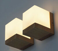 Oak Solid Wood Wall Lamp Glass Cover Light Lighting Home Cafe Retro Hall Tsbt