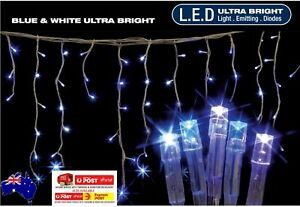 600 LED 14.9M WHITE&BLUE ICICLE CHRISTMAS LIGHTS WITH 8 FUNCTIONS & MEMORY