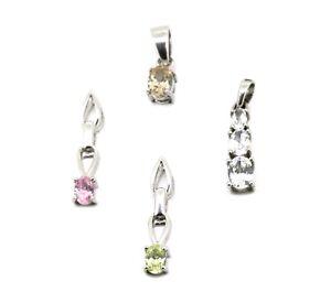 4-kleine-Anhaenger-alle-925er-Silber-Zirkonia-in-verschiedenen-Farben-1
