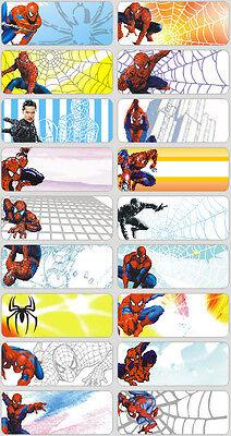 18 Spiderman Personalised name Label Sticker School book vinyl 4.6x1.8cm