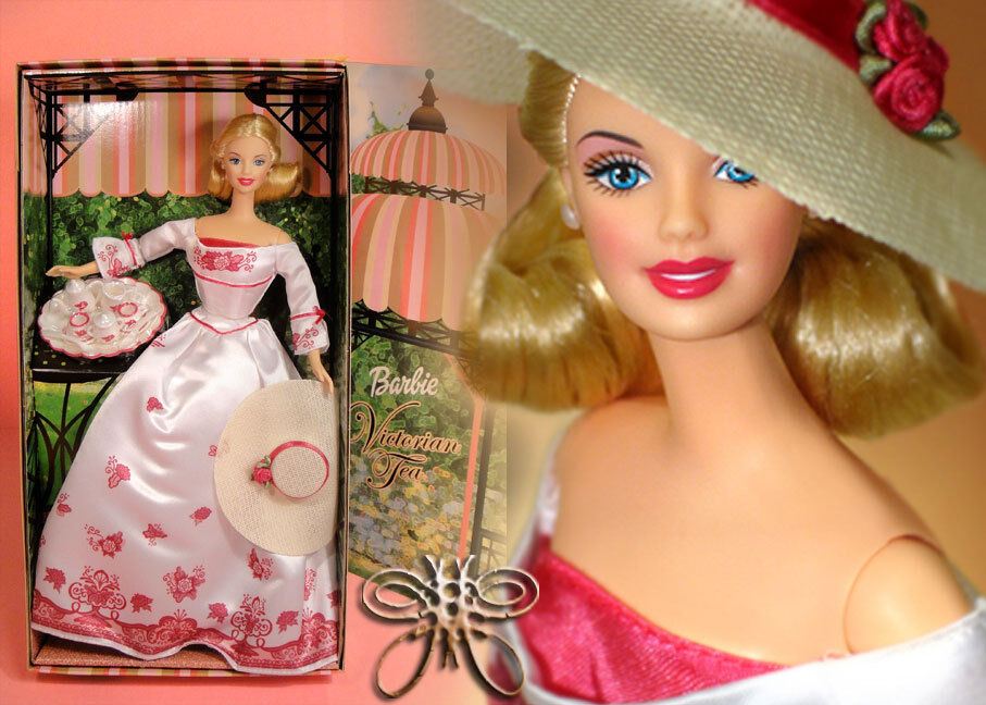 Free shipping  Victorian Tea Barbie Avon 2002 White pink Gown