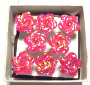 Push-Pin-Thumb-Tacks-PINK-SWIRL-GLITTER-FLOWERS-Set-of-8-Handmade