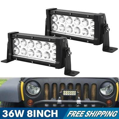 2X 8Inch 36W LED Work Light Bar Spot Lights Offroad SUV UTV 4WD Driving UTE JEEP