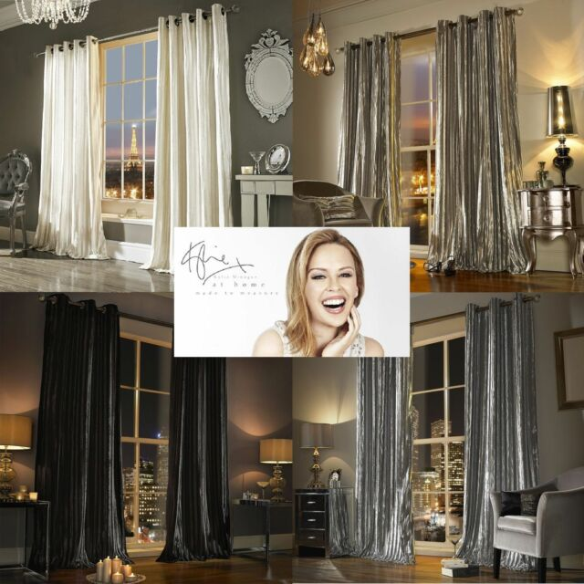 Kylie Minogue Iliana Designer Eyelet Velvet Ring Top Velour Lined Curtains Silver 66 54