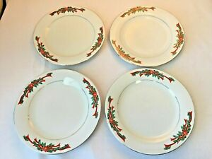 4 Fine China Christmas Dinner Plates In The Poinsettia /& Ribbons Pattern