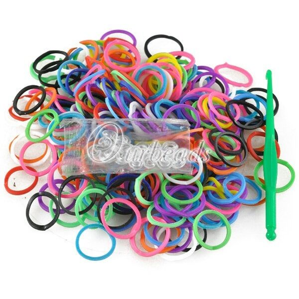 Approx 190x Solid Colours Loom Rubber Bands Refill + 1x Loom Tool + 15x S Clips
