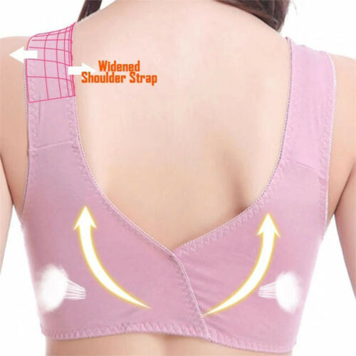 Women Adjustable Front Zip Closure Extra-Elastic Large Wire-Free Sleep Lace Bra