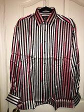 NWT Genelli 100% Long Sleeve Striped Shirt Size M International Male