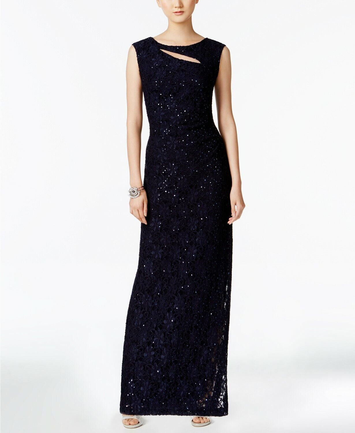 286 CONNECTED WOMEN'S blueE CUTOUT SEQUINED SLEEVELESS LACE GOWN DRESS SIZE 14