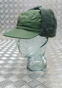Genuine-Swedish-Army-Green-Cold-Weather-Dog-Trapper-Hat-58cm-NEW