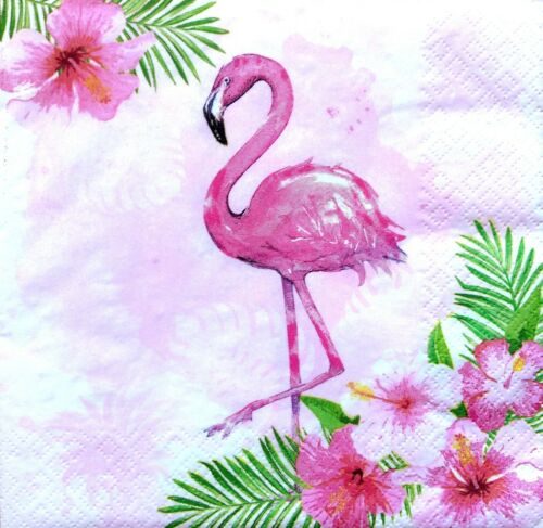4 Lunch Paper Napkins for Decoupage Party Table Vintage Pink Flowers Flamingo