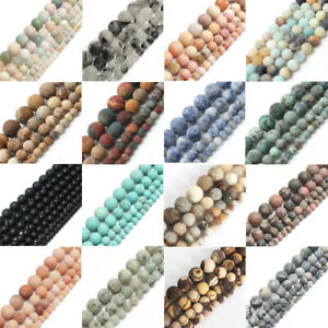 Natural-Matte-Frosted-Gems-Round-Loose-Unpolished-Stone-Beads-4mm-6mm-8mm-10mm