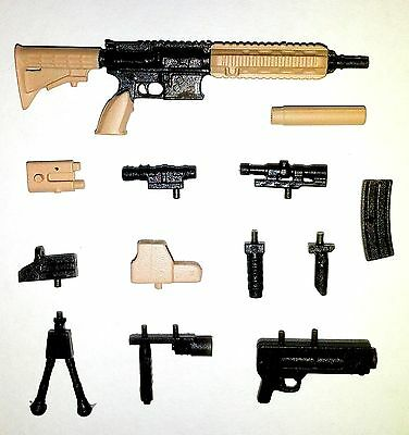 """PAINTED """"Modular"""" FOS Assault Rifle (1) - 1:18 Scale Weapon for 3-3/4"""" Figures"""