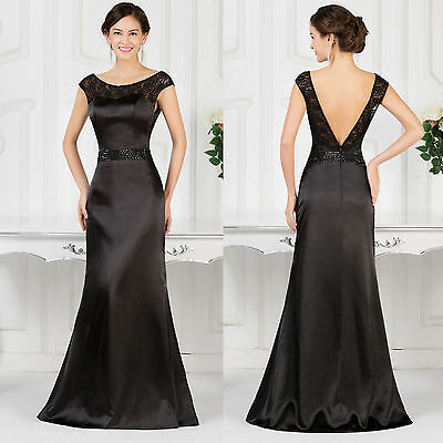 Black Long Women Bridesmaid Dress Evening Party Prom Mother Bride Ball Gown 2015