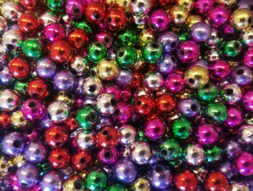 350 pcs Assorted Metallic Large Plastic Pearls 8mm Round Christmas Craft Beads