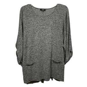 PREMISE-STUDIO-Women-Plus-Size-2X-Top-Shirt-Blouse-3-4-Sleeve-Gray-Faux-Pockets