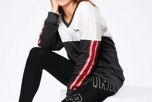 d39170dfaddb0 Victoria's Secret PINK SEQUIN BLING VARSITY V-NECK LONG SLEEVE TEE ...
