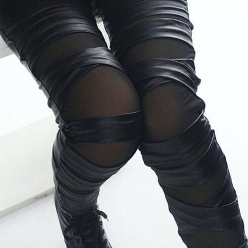 PU-Leder Schwarzes Kreuz Bundling Leggings Perspektive Streifen Net Garn