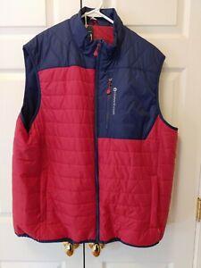 New Men Vineyard Vines Grid Fleece Mtn Weekend Vest Lifeguard Red/Blue Size XXL