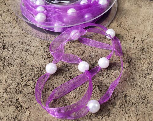 0,69€//m 2m Organzaband lila violett Perlen weiß Hochzeit Schmuckband