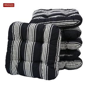 sitzkissen 38 x 38 cm in schwarz wei gestreift kissen stuhlkissen gartenkissen ebay. Black Bedroom Furniture Sets. Home Design Ideas