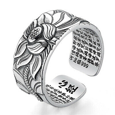 999 STERLING SILVER Thai HEART SUTRA women men RING  jewelry  S3350