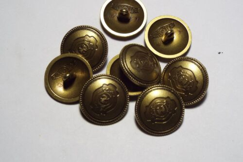 8pc 20mm Crested Bronze Gold Metal Military Blazer Coat Cardigan Kid Button 2819