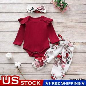 Newborn Baby Girl Floral Pants+Solid Long Sleeve Romper Tops Clothes Outfit Sets