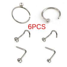 6PCS/Set Stainless Steel Nose Stud Ring Hoop Body Hinged Segment Body Piercing X